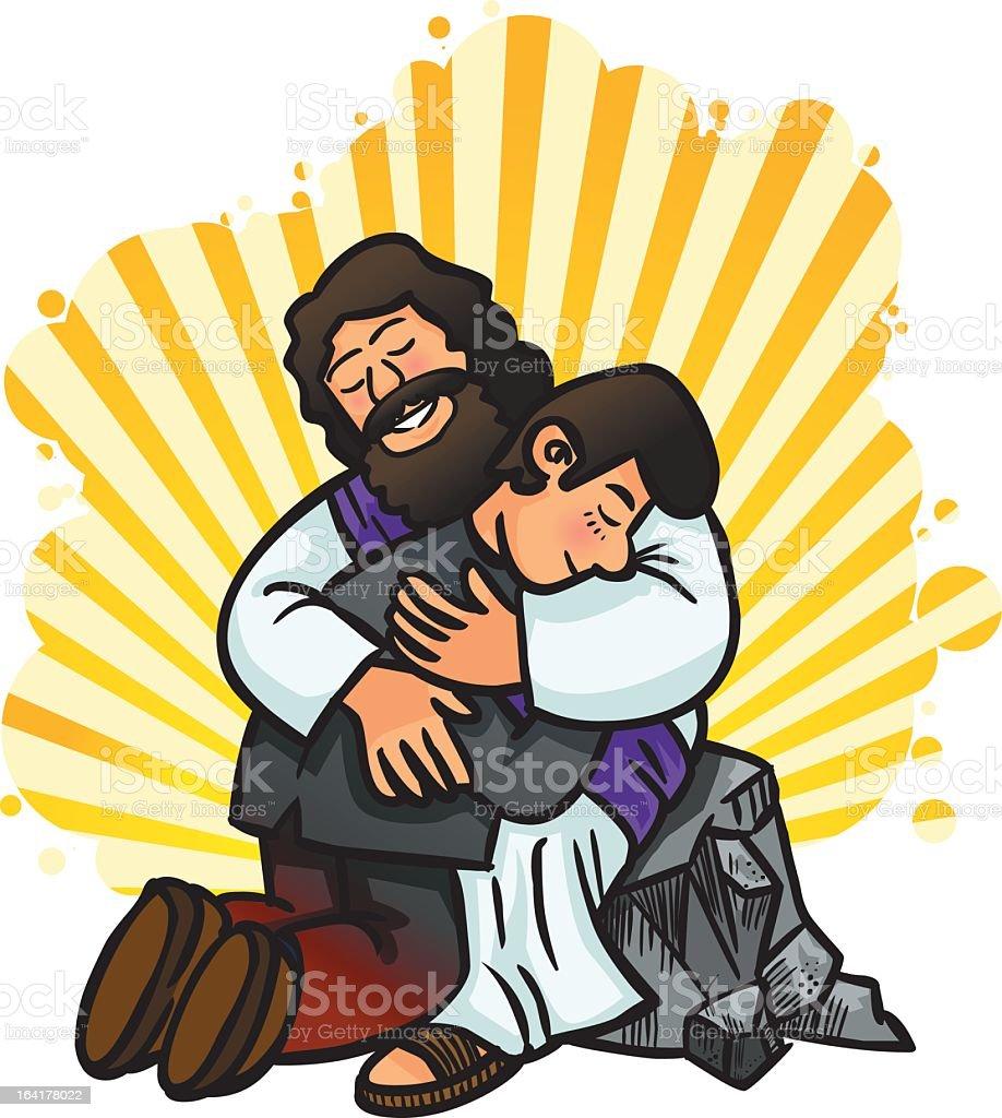 Vector illustration of Jesus forgiving vector art illustration