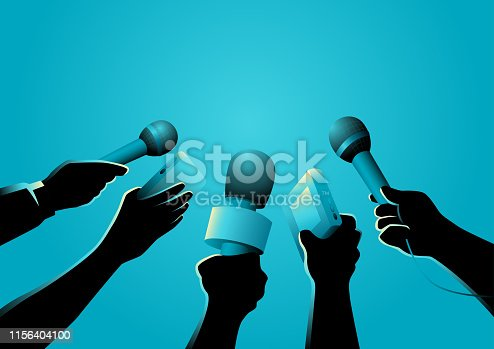 Vector illustration of hands holding microphones and recorders, journalism symbol