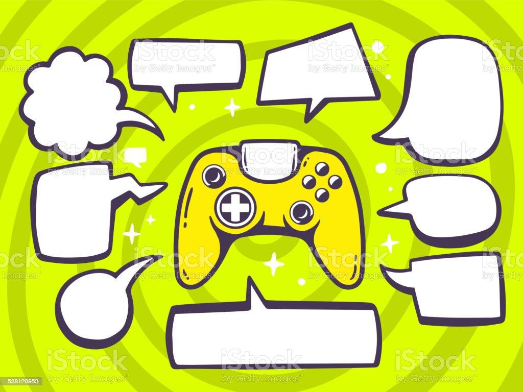 Vector illustration of joystick with speech comics bubbles vector art illustration