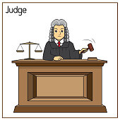 istock Vector illustration of judge isolated on white background. Jobs and occupations concept. Cartoon characters. Education and school kids coloring page, printable, activity, worksheet, flashcard. 1319334359