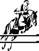Vector illustration of jumping horse with rider
