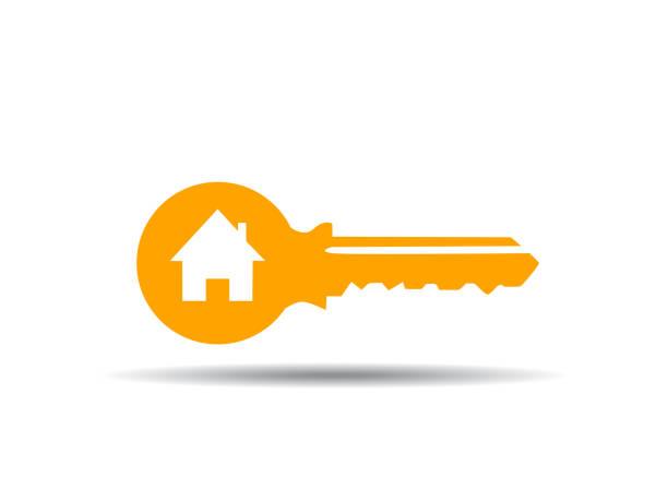 ilustrações, clipart, desenhos animados e ícones de ilustração em vetor de chave com casa - chave