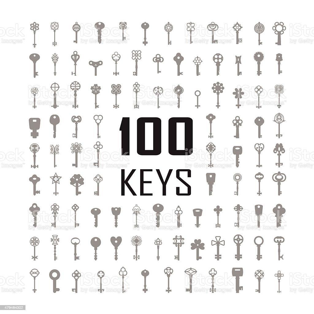 Vector Illustration of keys. Big icon set. vector art illustration