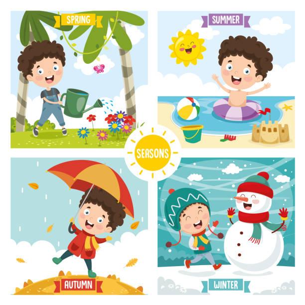 ilustraciones, imágenes clip art, dibujos animados e iconos de stock de vector ilustración de un niño y cuatro estaciones - calendario de flores