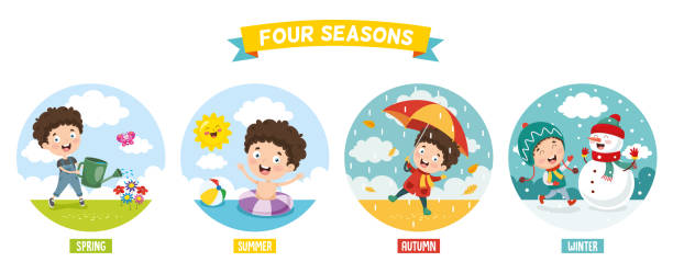 vector illustration of kid and four seasons - cztery pory roku stock illustrations