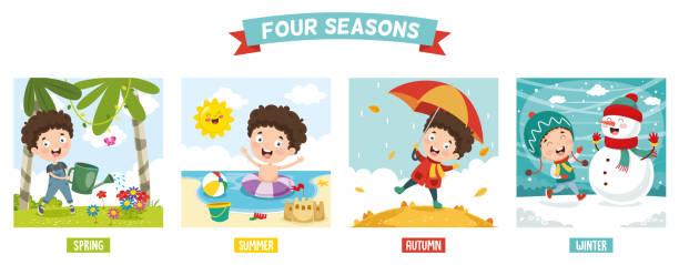 wektorowa ilustracja kid i cztery pory roku - four seasons stock illustrations