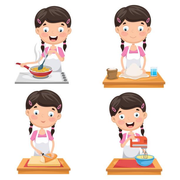 Vector Illustration Of Kid At Kitchen Vector Illustration Of Kid At Kitchen mixing bowl stock illustrations