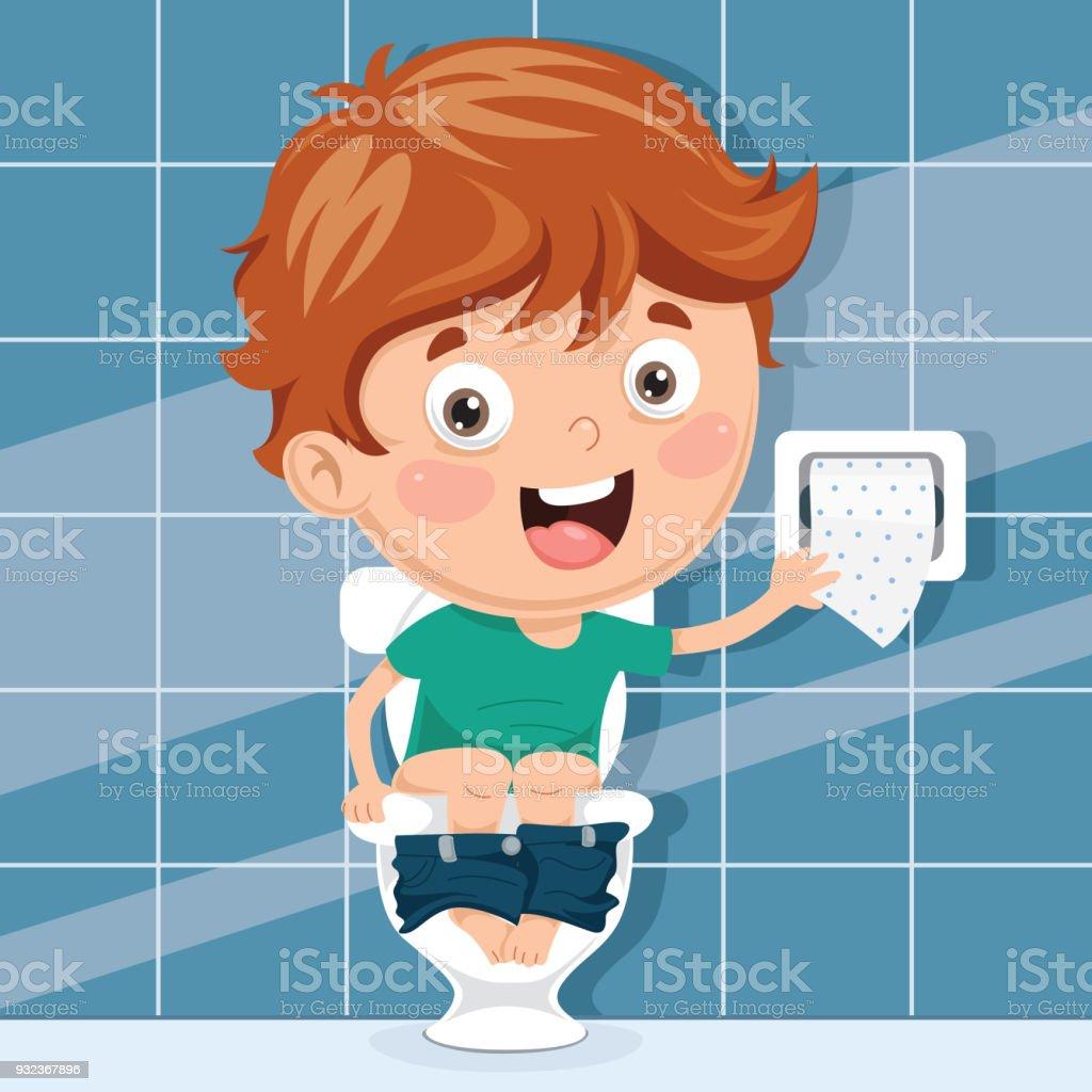 Kind Op Toilet.Vectorillustratie Van Kind Op Toilet Stockvectorkunst En