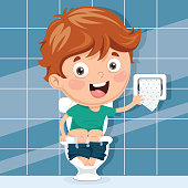 Vector Illustration Of Kid At Toilet