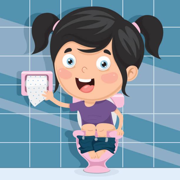 Illustration Girl Sitting On Toilet Peeing Stock Vector