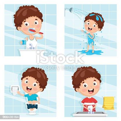 Vector Illustration Of Kid Bathing, Brushing Teeth, Washing Hands After Toilet