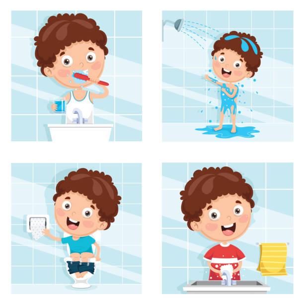 bildbanksillustrationer, clip art samt tecknat material och ikoner med vektorillustration av kid bad, borsta tänderna, tvätta händerna efter toalett - baby bathtub