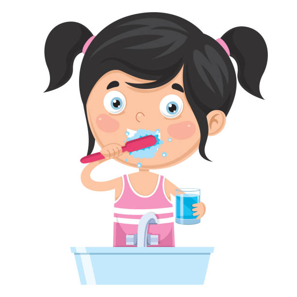 ilustraciones, imágenes clip art, dibujos animados e iconos de stock de vector ilustración de niño cepillarse los dientes - ojos azules