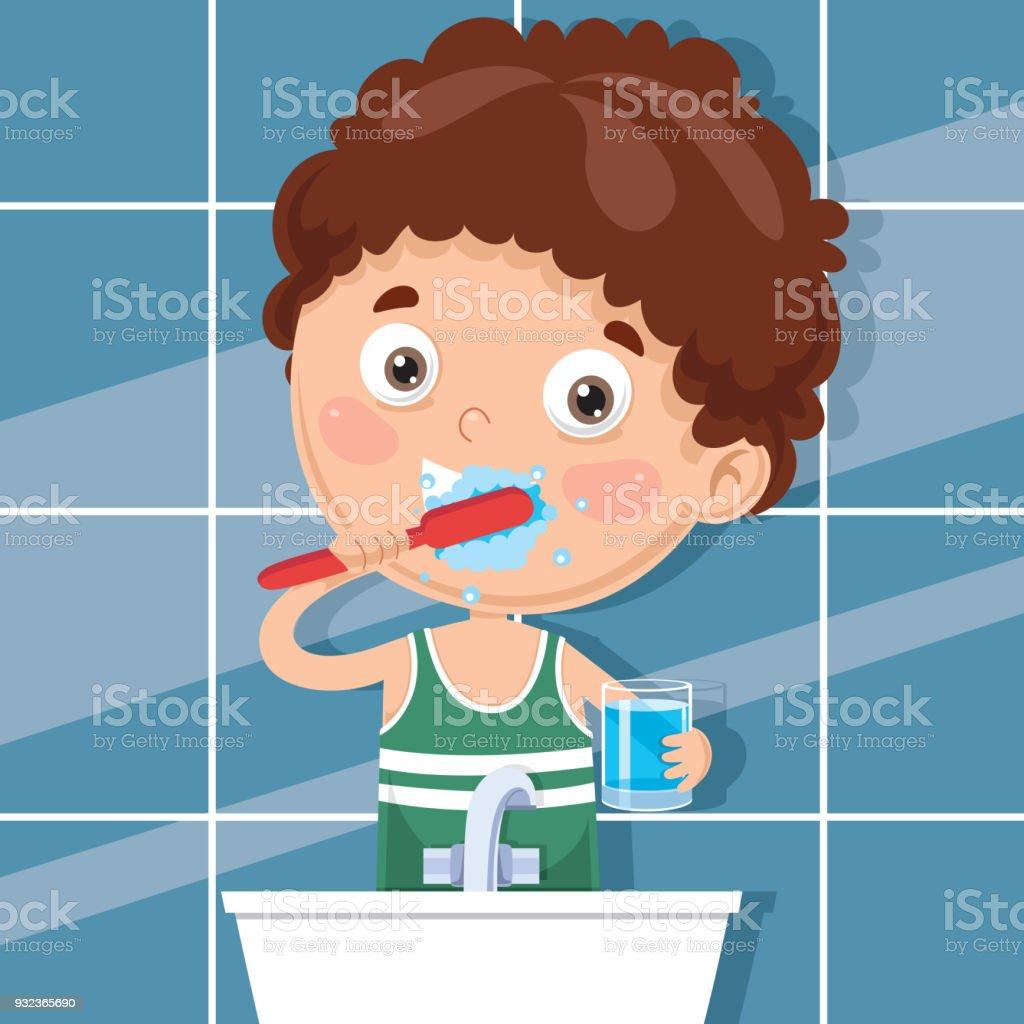 Vector Illustration Of Kid Brushing Teeth vector art illustration