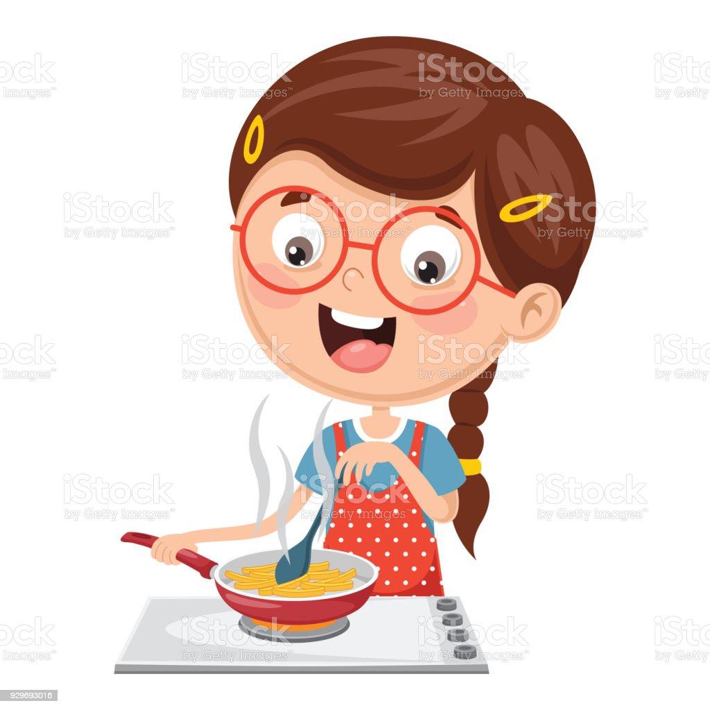 子供の食事を調理のベクトル イラスト 3dのベクターアート素材や画像を