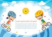 Vector Illustration Of Kid Cycling