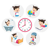 Vector Illustration Of Kid Daily Routine Activities