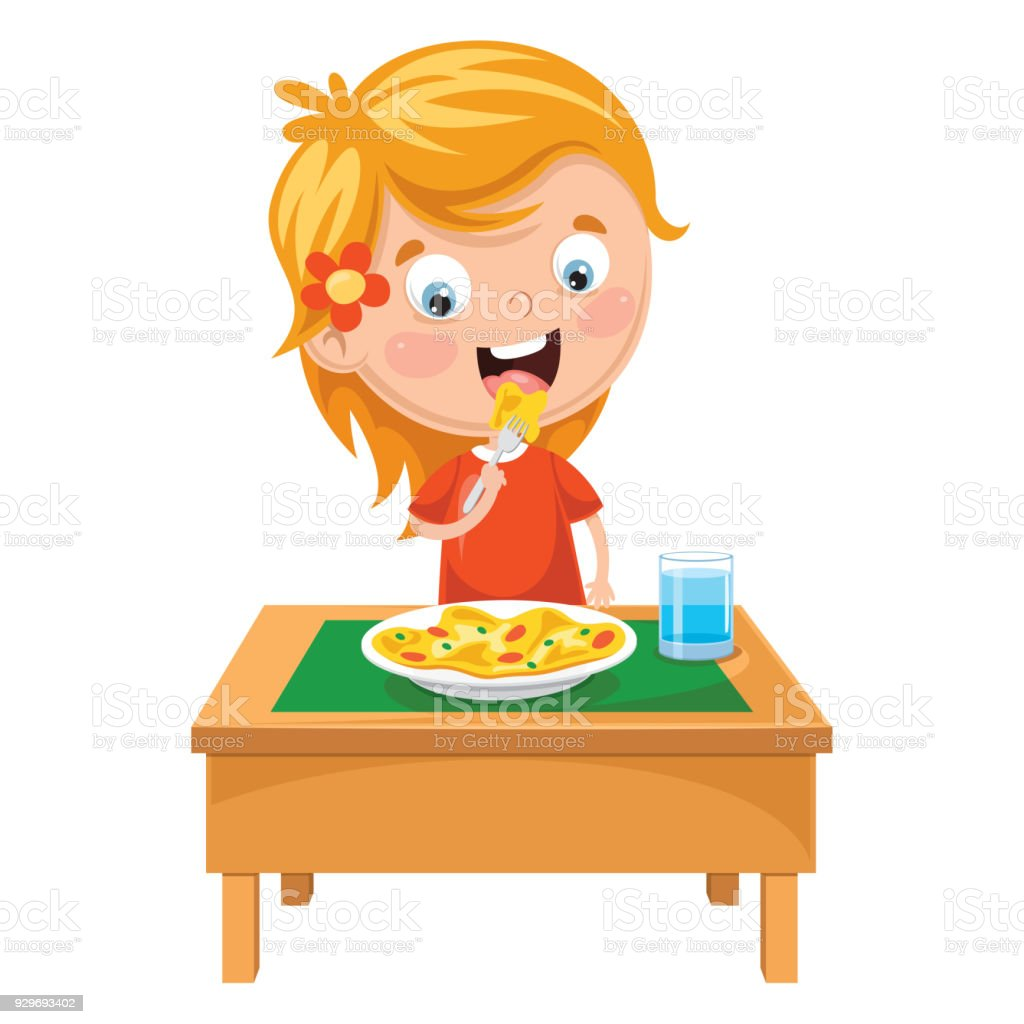 Vector Illustration Of Kid Eating Meal vector art illustration