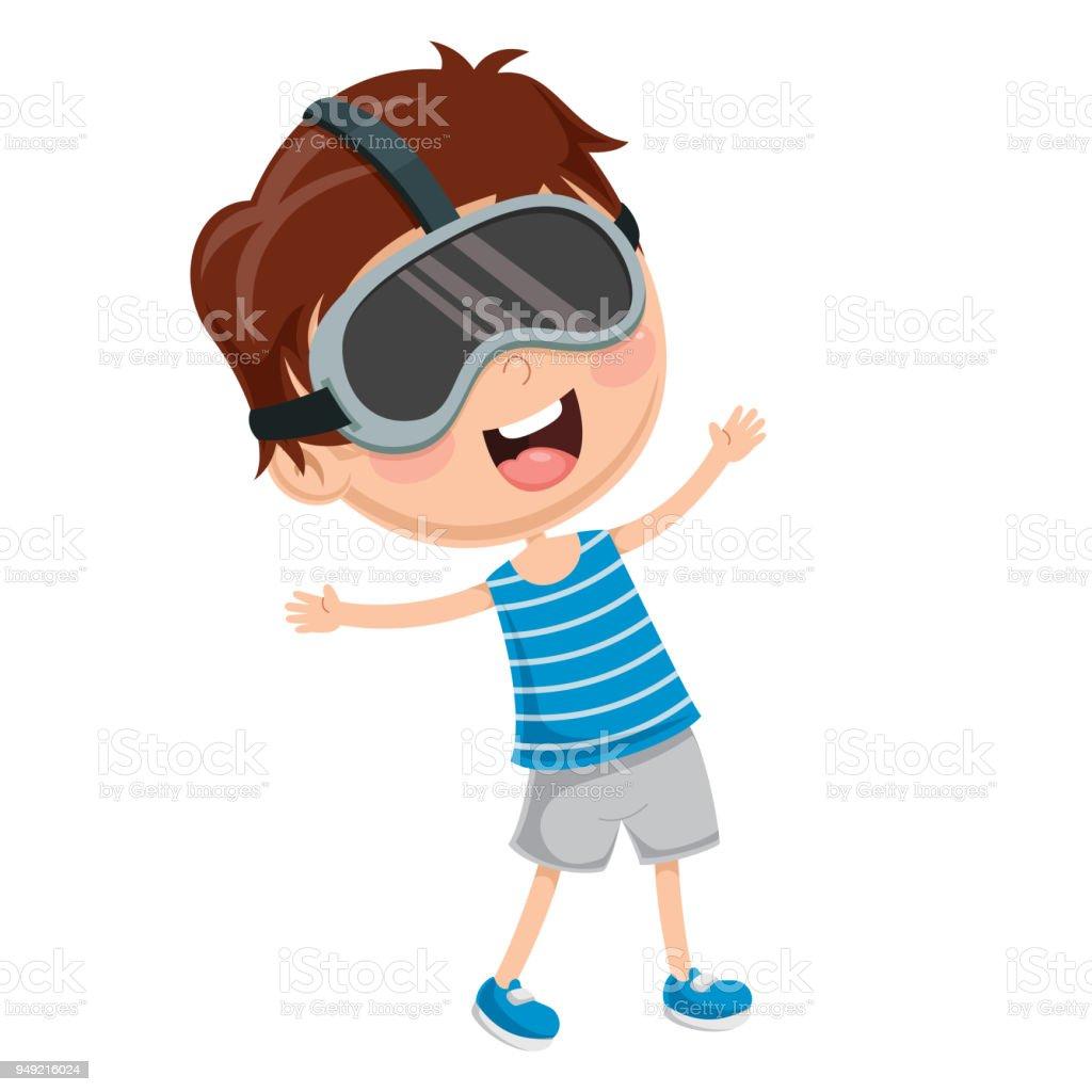 仮想現実の眼鏡を経験している子供のベクトル イラスト 1人のベクター