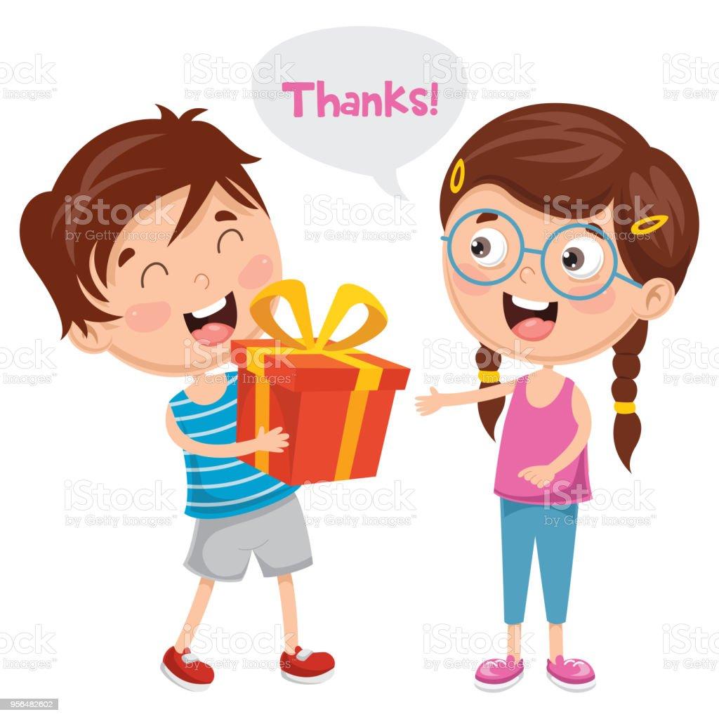 벡터 일러스트 레이 션의 아이 그의 친구에 게 선물을 주는 감사합니다에 대한 스톡 벡터 아트 및 기타 ...