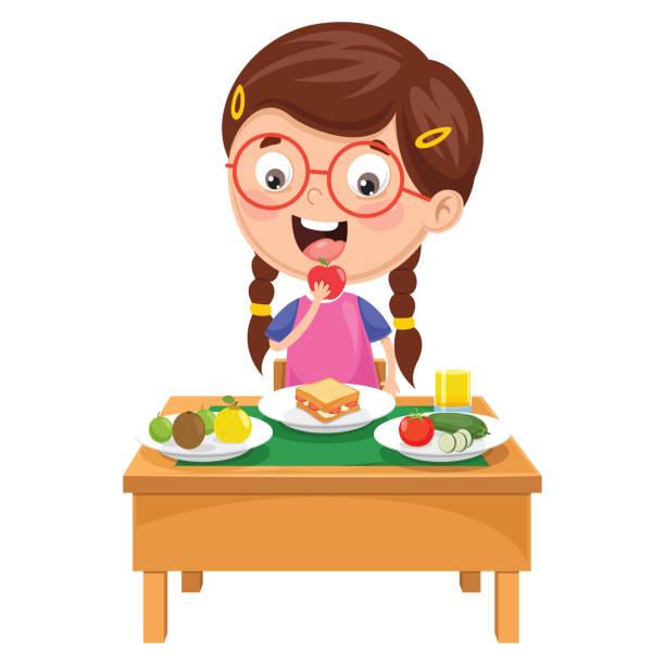 vektor-illustration von kid frühstücken - essen mund benutzen stock-grafiken, -clipart, -cartoons und -symbole