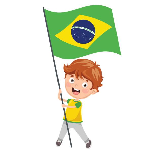 Illustration vectorielle de Kid tenant drapeau - Illustration vectorielle