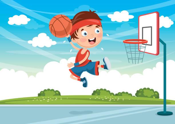 Vector Illustration Of Kid Playing Basketball vector art illustration