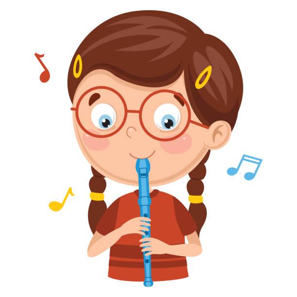 bildbanksillustrationer, clip art samt tecknat material och ikoner med vektorillustration av kid spelar flöjt - flöjt