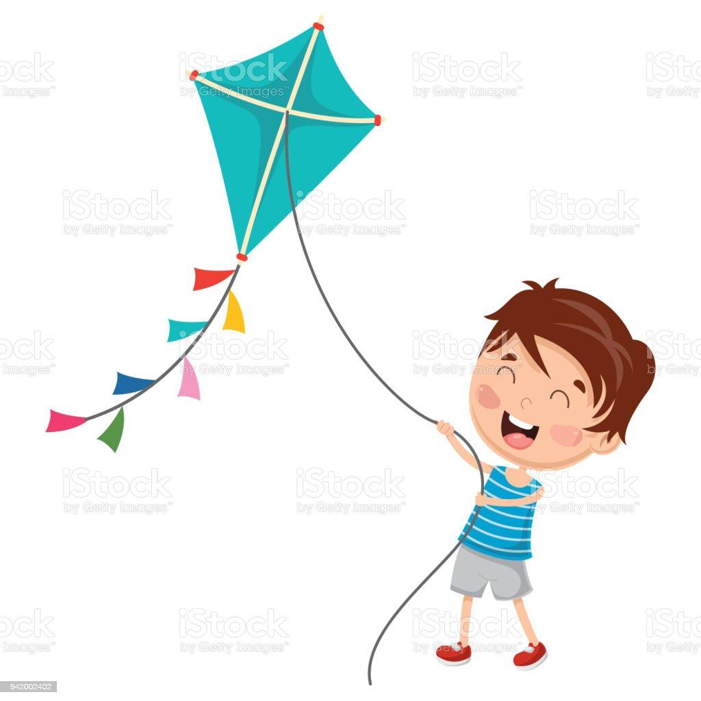 子供凧を演奏のベクトル イラスト 1人のベクターアート素材や画像を