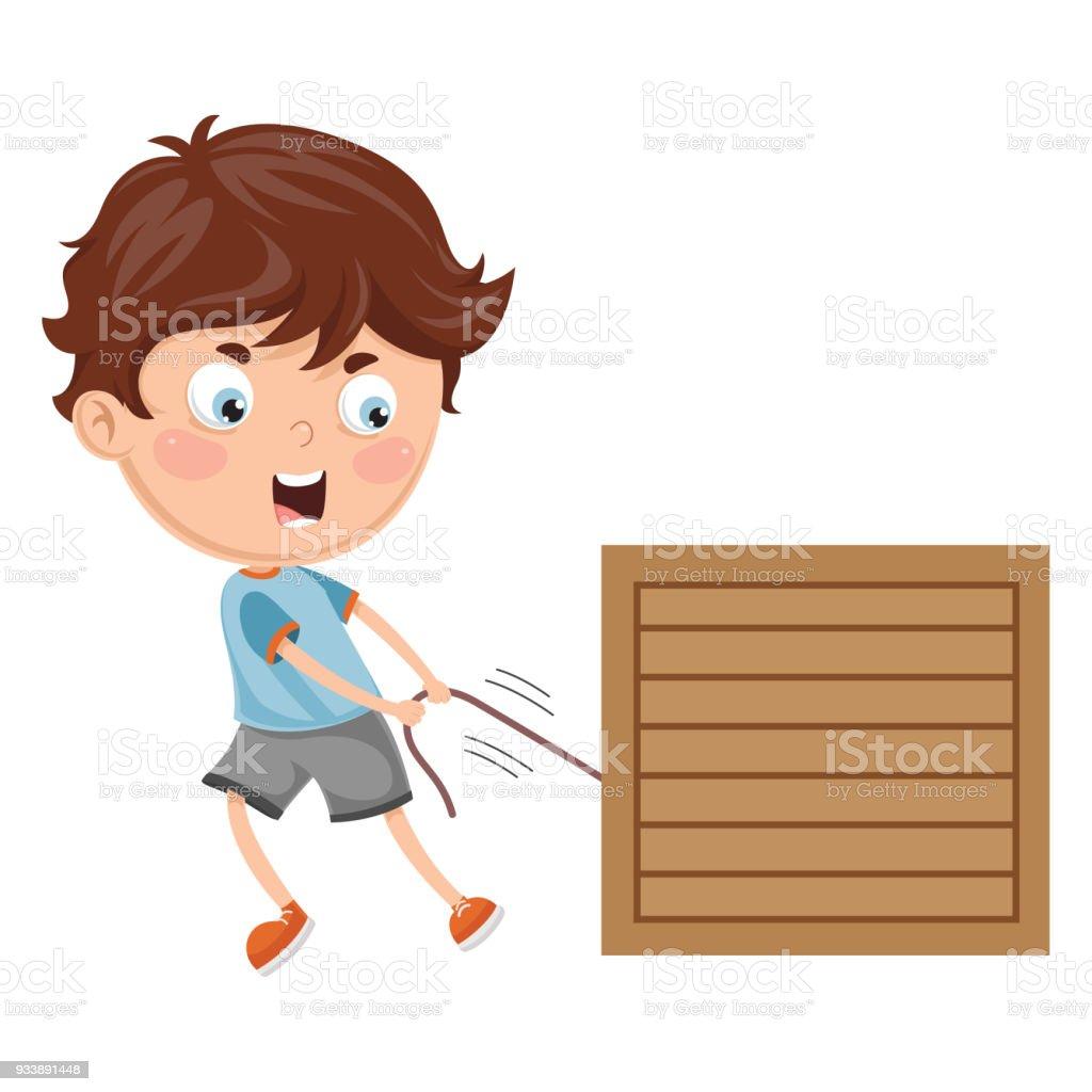 Vector Illustration Of Kid Pulling vector art illustration