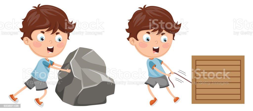 Vector Illustration Of Kid Pushing and Pulling vector art illustration