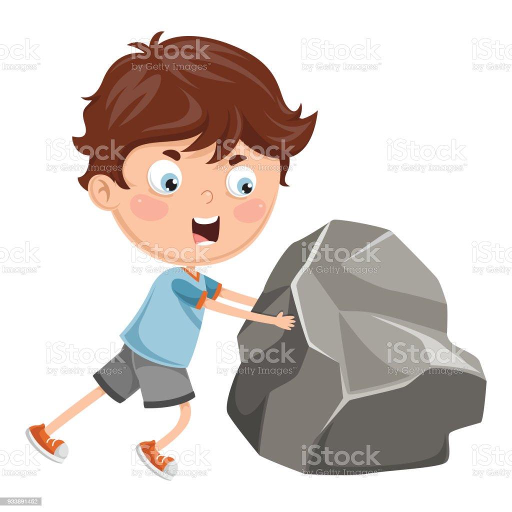 Vector Illustration Of Kid Pushing vector art illustration
