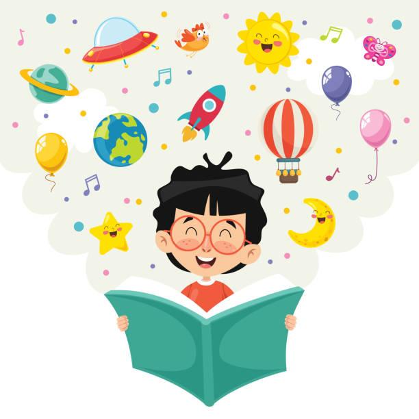 vector illustration of kid reading book - reading stock illustrations