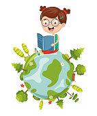 Vector Illustration Of Kid Reading Book