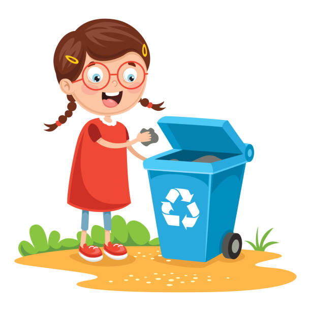 vector illustration of kid recycling trash - child throwing garbage stock illustrations, clip art, cartoons, & icons