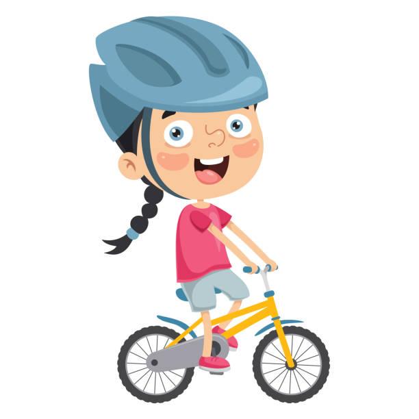 Vector Illustration Of Kid Riding Bike vector art illustration