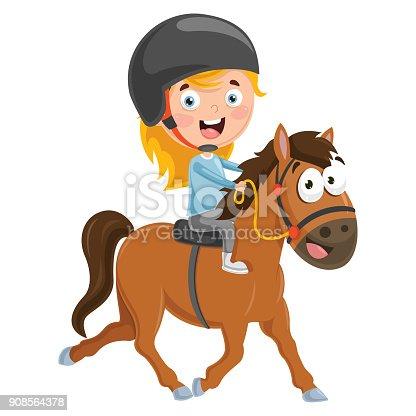 Vector Illustration Of Kid Riding Horse