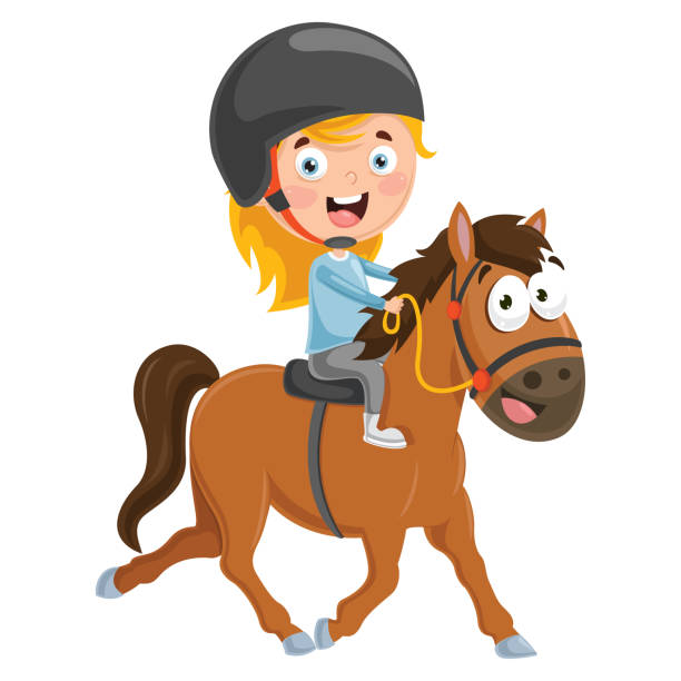 vector illustration of kid riding horse - pony stock illustrations