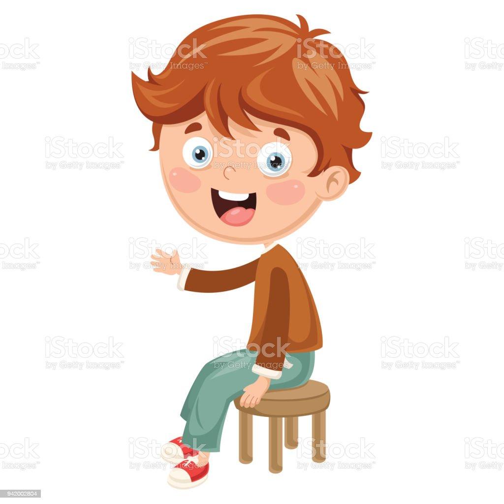 Sandalyede Oturan çocuk Vektör çizim Stok Vektör Sanatı Ahşapnin