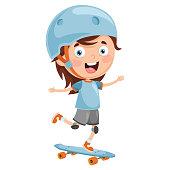 Vector Illustration Of Kid Skate Boarding