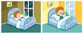 Vector Illustration Of Kid Sleeping And Waking Up