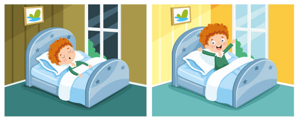 illustrazioni stock, clip art, cartoni animati e icone di tendenza di vector illustration of kid sleeping and waking up - buongiorno