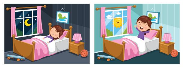stockillustraties, clipart, cartoons en iconen met vectorillustratie van jongen, slapen en wakker worden - alleen één meisje