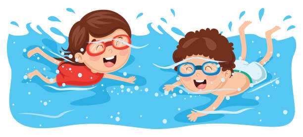 Vector Illustration Of Kid Swimming vector art illustration