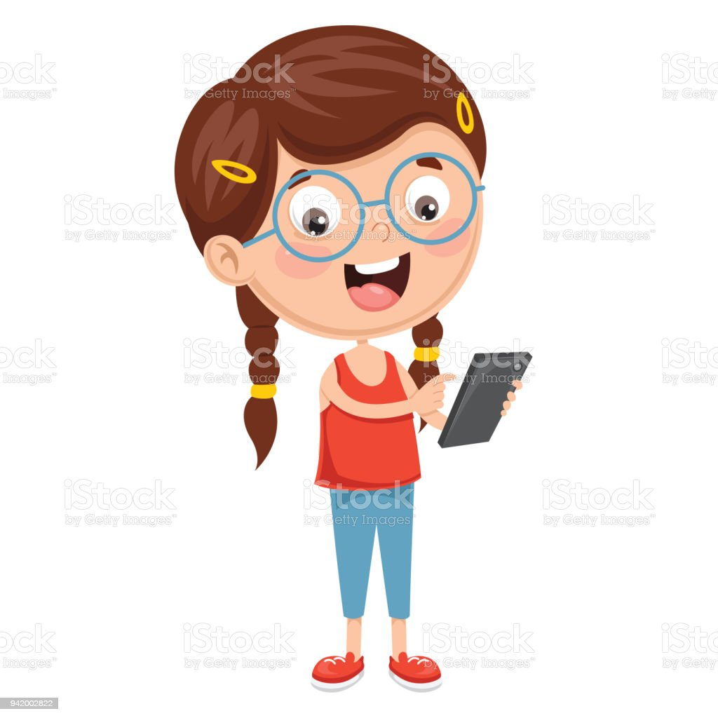 Vector Illustration Of Kid Using Mobile Device vector art illustration