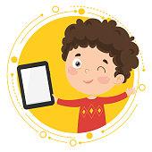 Vector Illustration Of Kid Using Tablet Pc