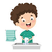 Vector Illustration Of Kid Washing Hands