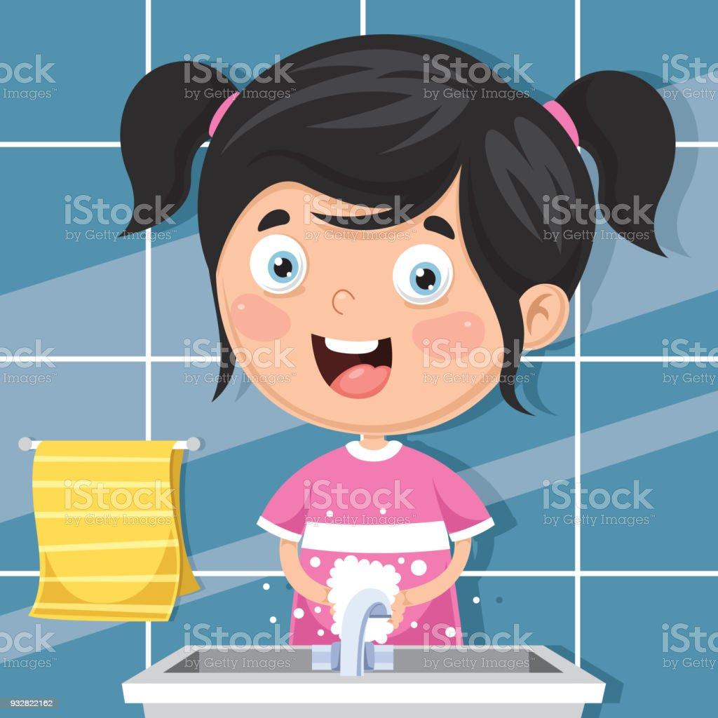 Vector Illustration Of Kid Washing Hands vector art illustration