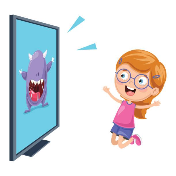 Vector Illustration Of Kid Watching Tv Vector Illustration Of Kid Watching Tv watching tv stock illustrations