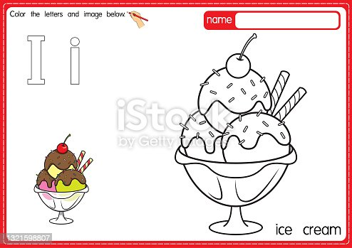 istock Vector illustration of kids alphabet coloring book page with outlined clip art to color. Letter I for Ice Cream. 1321598807